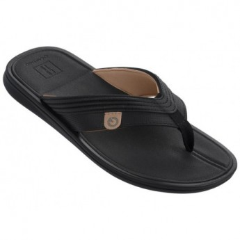MALTA II black and brown flat finger flip flops for man