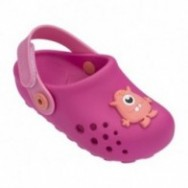 LUNAR pink flat closed clogs for child