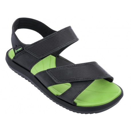 TERRAIN black and green flat roman sandals for child