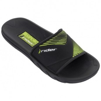 MONTREAL II black and green flat shovel flip flops for child