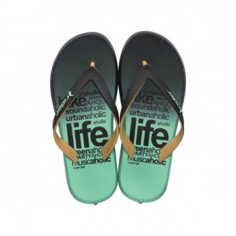 ENERGY V brown and green urban print flat finger flip flops for child