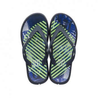 ENERGY V blue and green urban print flat finger flip flops for child