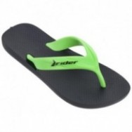 STRIKE black and green flat finger flip flops for child