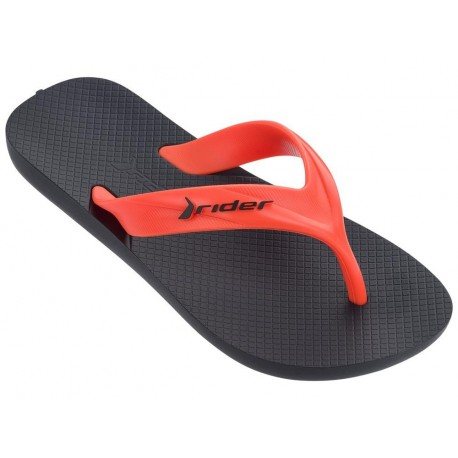 STRIKE black and orange flat finger flip flops for child