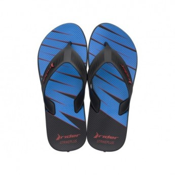 STRIKE PLUS black and blue flat finger flip flops for man