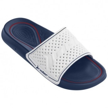 INFINITY LIGHT blue and white flat shovel flip flops for man