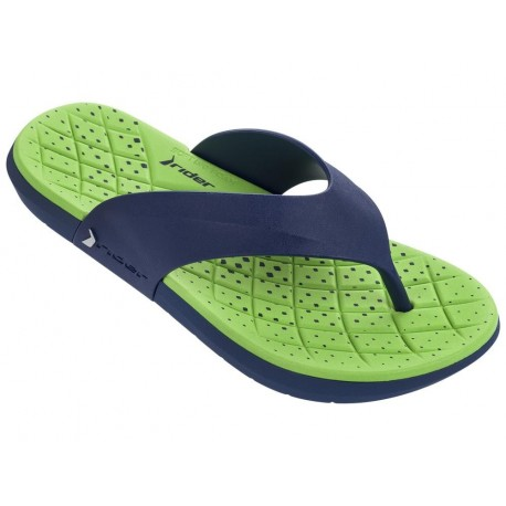 INFINITY blue and green flat finger flip flops for man