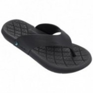 INFINITY black flat finger flip flops for man