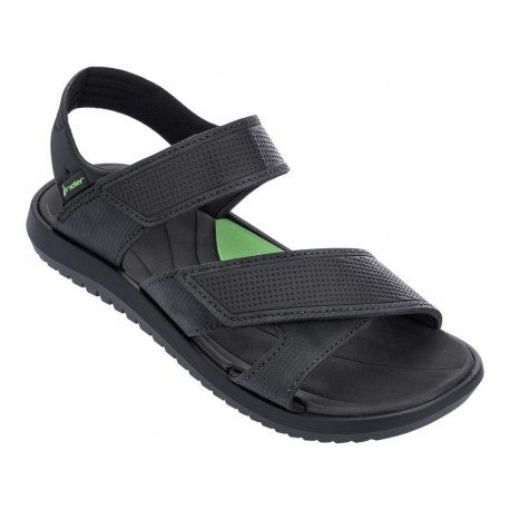 TERRAIN black and green flat roman sandals for man