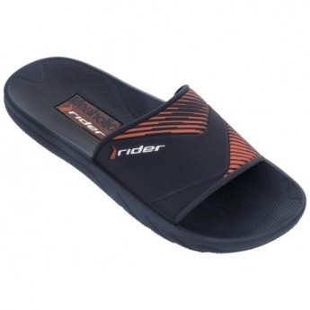 MONTREAL II blue and orange flat shovel flip flops for man