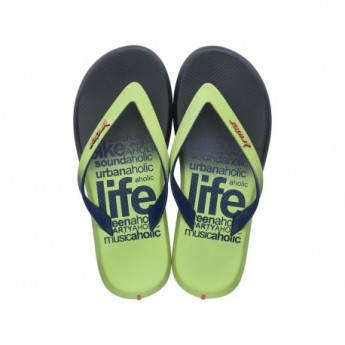 R1 ENERGY PLUS blue and green flat finger flip flops for man