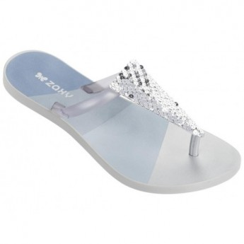 FRESH FREEDOM silver flat finger flip flops for woman