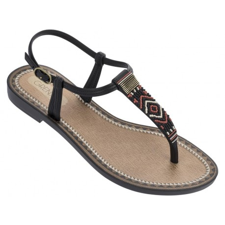ACAI V black flat finger sandals for woman