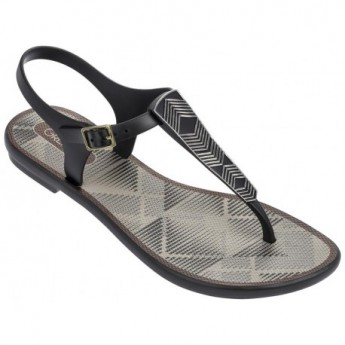 ROMANTIC II black and grey geometric shapes print flat finger sandals for woman