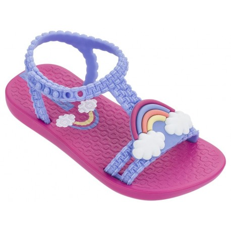III pink and lila fantasy print flat open sandals for baby