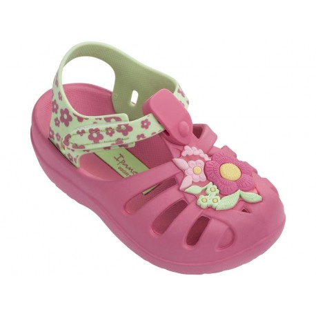 SUMMER IV green and pink flat crab sandals for girl