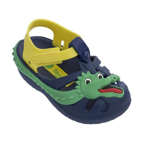 SUMMER V navy blue and yellow flat crab sandals for child