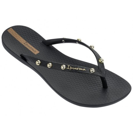 WAVE HITS II black and gold flat finger flip flops for woman