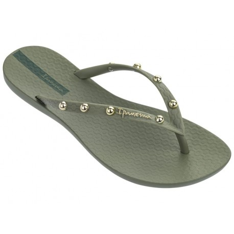 WAVE HITS II gold and green flat finger flip flops for woman