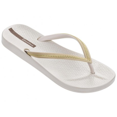 ANA METALLIC beige and gold flat finger flip flops for woman