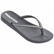 ANA METALLIC grey and silver flat finger flip flops for woman