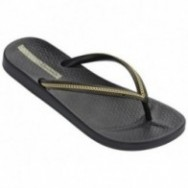 ANA METALLIC black and gold flat finger flip flops for woman