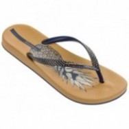 ANAT NATURE II blue and yellow tropical print flat finger flip flops for woman