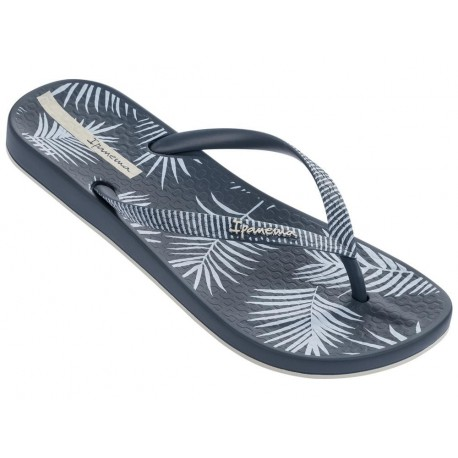 ANAT NATURE II blue tropical print flat finger flip flops for woman