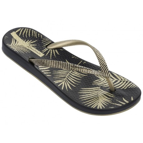 ANAT NATURE II black and gold tropical print flat finger flip flops for woman