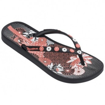 ANAT LOVELY VIII black floral print flat finger flip flops for woman