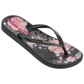 ANAT TEMAS VII black floral print flat finger flip flops for woman