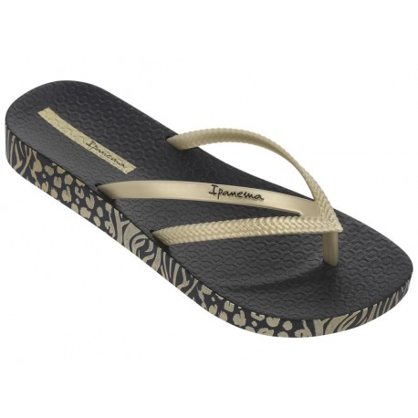 BOSSA SOFT II black and gold wedge finger flip flops for woman