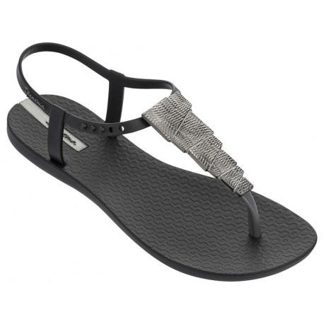 CHARM V black flat finger sandals for woman