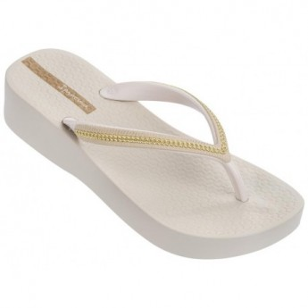 MESH III beige and gold wedge finger flip flops for woman