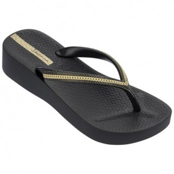MESH III black and gold wedge finger flip flops for woman