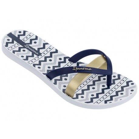 KIREI SILK III blue and white geometric shapes print flat finger flip flops for woman