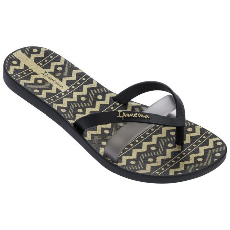 KIREI SILK III black geometric shapes print flat finger flip flops for woman