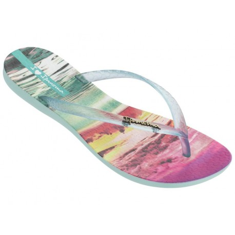 WAVE TROPICAL II green tropical print flat finger flip flops for woman