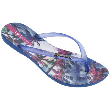 WAVE TROPICAL II blue tropical print flat finger flip flops for woman