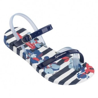 FASHION SAND V blue and white floral print flat finger sandals for child