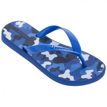 CLASSIC VI blue and white bicolor print flat finger flip flops for child