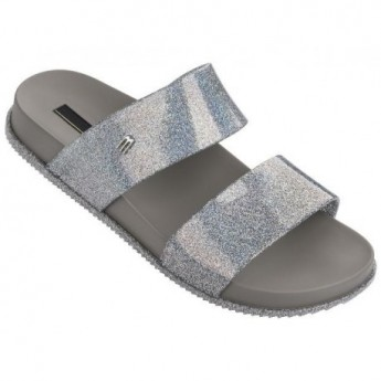 COSMIC grey and silver flat shovel sandals for woman