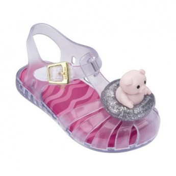 ARANHA XI pink and transparent flat sandals for baby