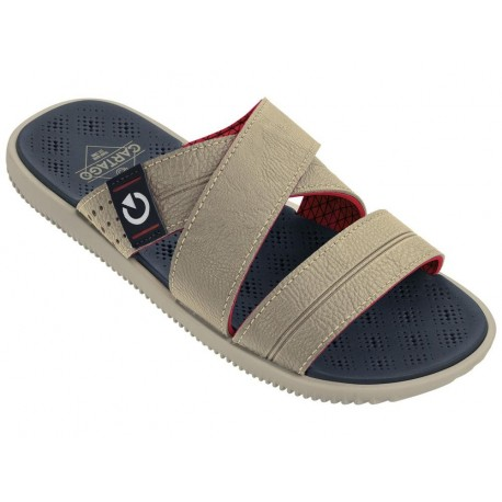 BARCELONA beige and red flat open sandals for man
