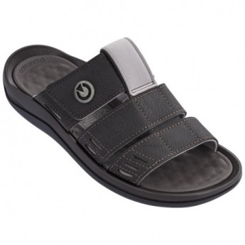 SANTORINI III black flat shovel sandals for man
