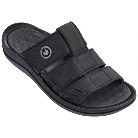 SANTORINI III black flat open sandals for man