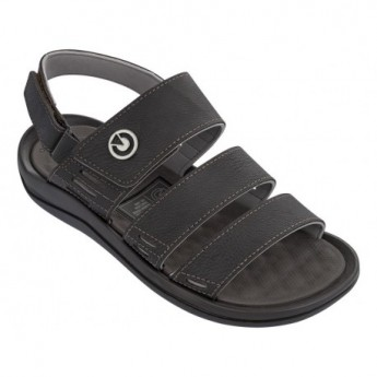 SANTORINI III black and brown flat roman sandals for man
