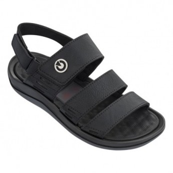 SANTORINI III black and grey flat roman sandals for man