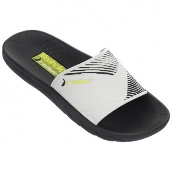 MONTREAL II black and white flat shovel flip flops for man