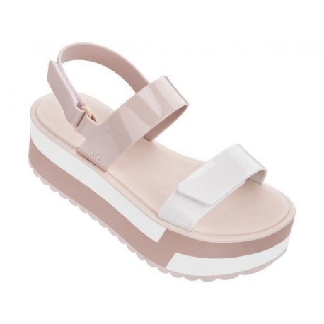 SLASH PLAT white and nude flat sandals for woman